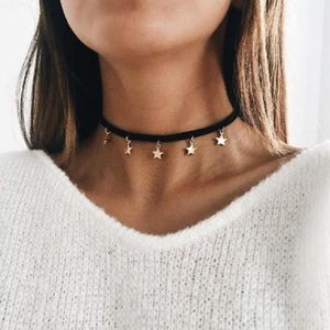 Black Gold Star Choker Necklace